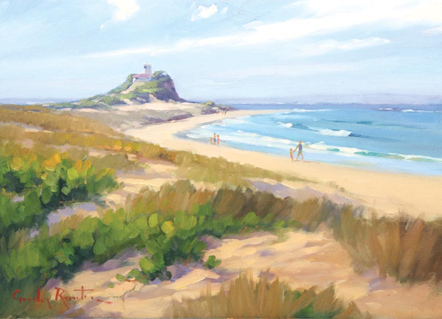 newcastle_nobbys_beach_painting_australlian_landscape_ art